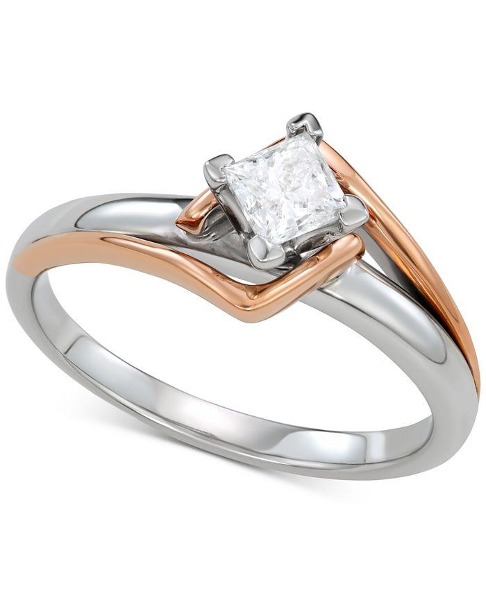 Macy's - Diamond Engagement Ring (1/2 ct. t.w.) in 14k White Gold & 14k Rose Gold