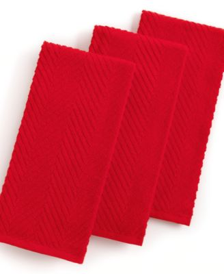 Martha Stewart Collection Kitchen Towels, Set of 3 Textured Terry Red