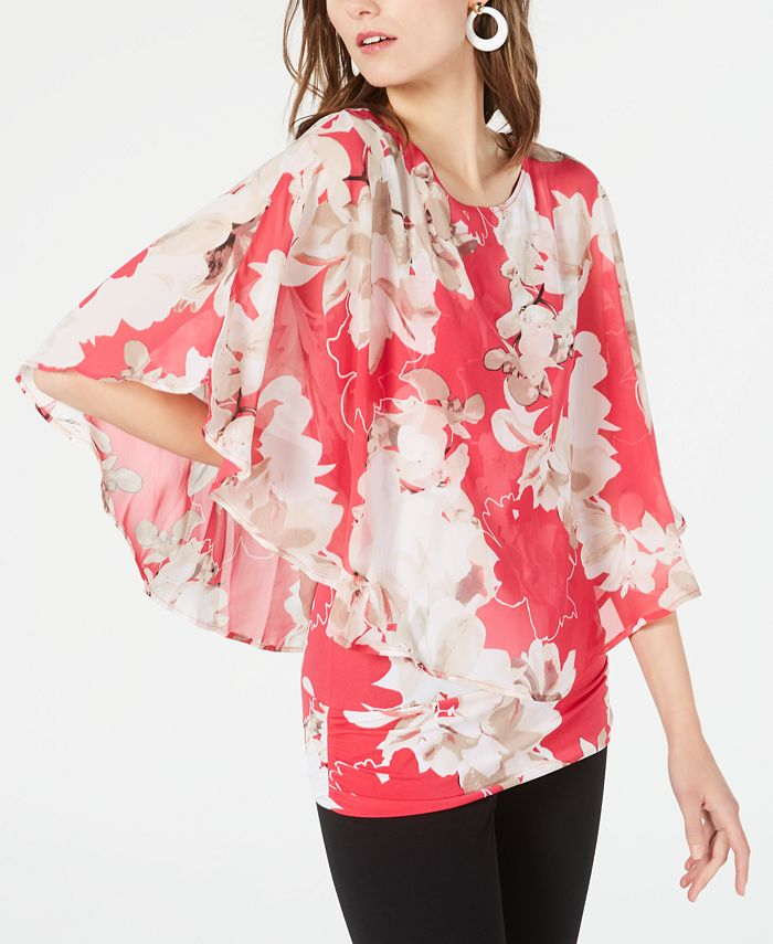 Alfani - Printed Flutter-Sleeve Top