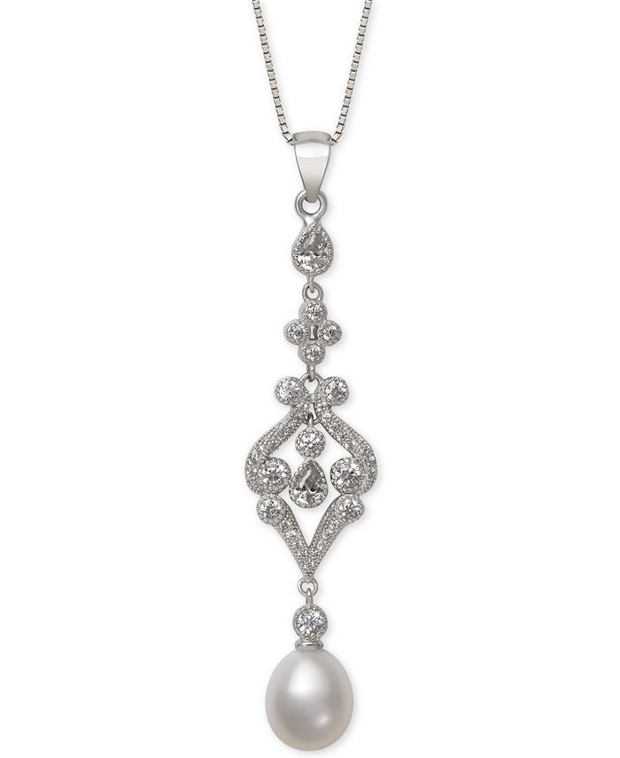 Belle de Mer - Cultured Freshwater Pearl (8-9mm) & Cubic Zirconia Pendant Necklace in Sterling Silver