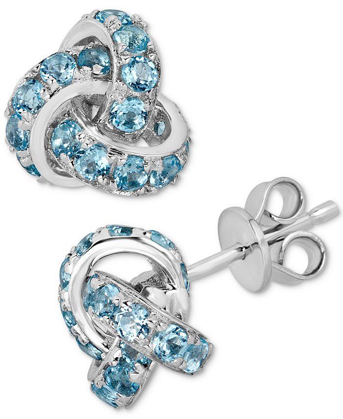 Macy's - Blue Topaz (4 ct. t.w.) Knot Stud Earrings in Sterling Silver