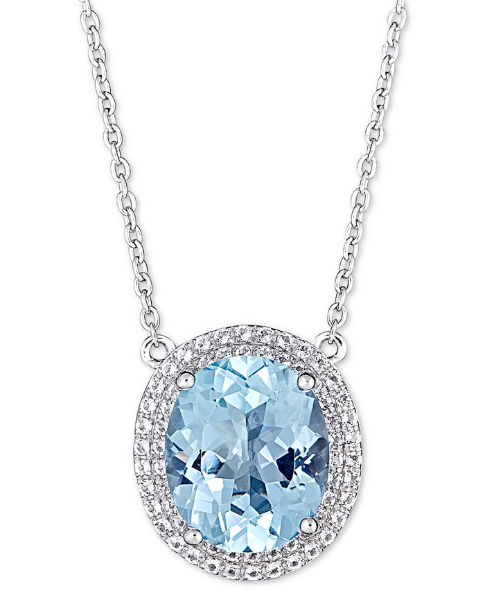 """Macy's - Blue Topaz (5-1/2 ct. t.w.) & White Topaz (1 ct. t.w.) 17"""" Pendant Necklace in Sterling Silver (also available in Amethyst)"""