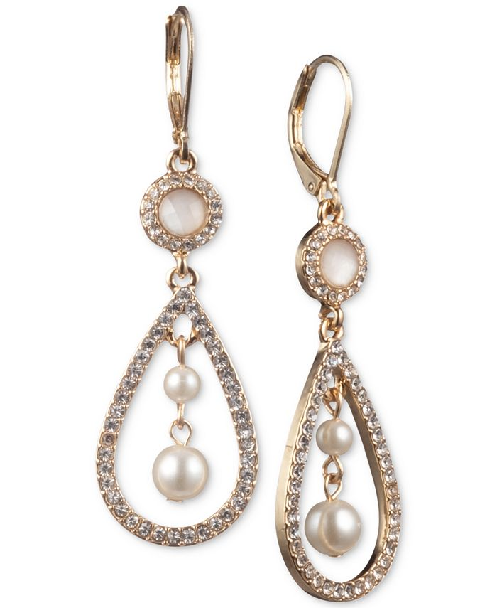 Anne Klein - Gold-Tone Imitation Pearl Orbital Drop Earrings