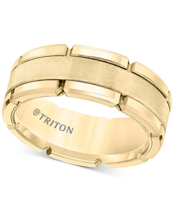Triton Men's Brushed Comfort-Fit 8mm Wedding Band in Yellow Tungsten Carbide