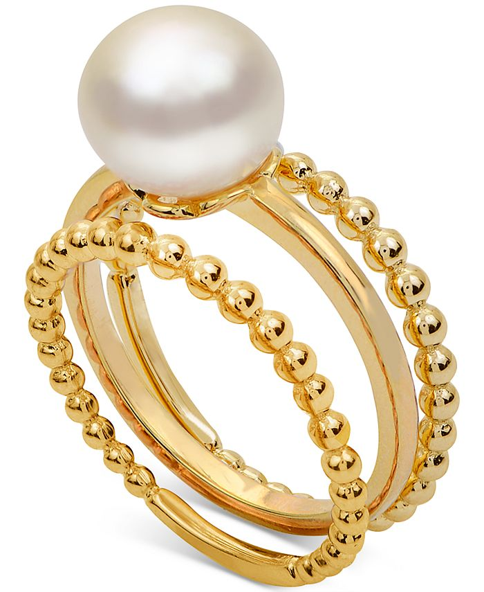 Macy's - 3-Pc. Set Cultured Freshwater Pearl (8-1/2mm) Stack Rings in 14k Gold-Plated Sterling Silver