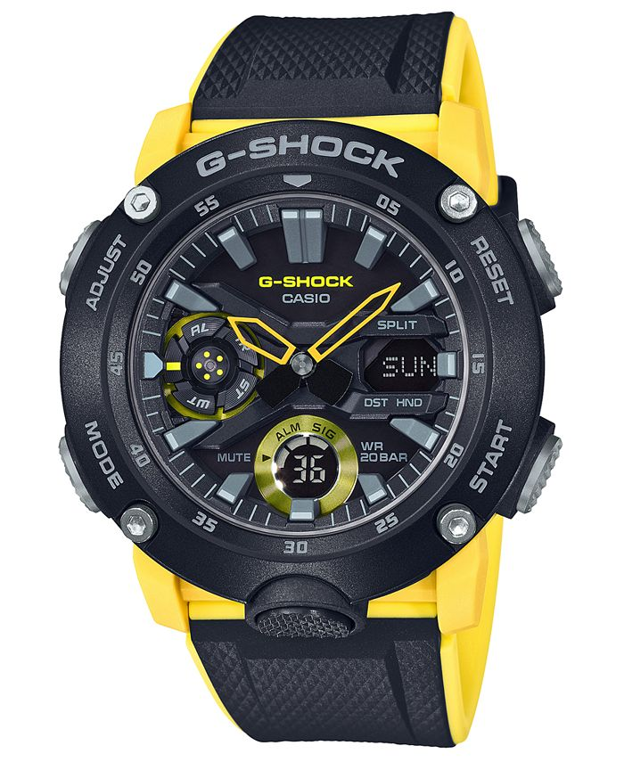 G-Shock - Men's Analog-Digital Black & Yellow Resin Strap Watch 48.7mm