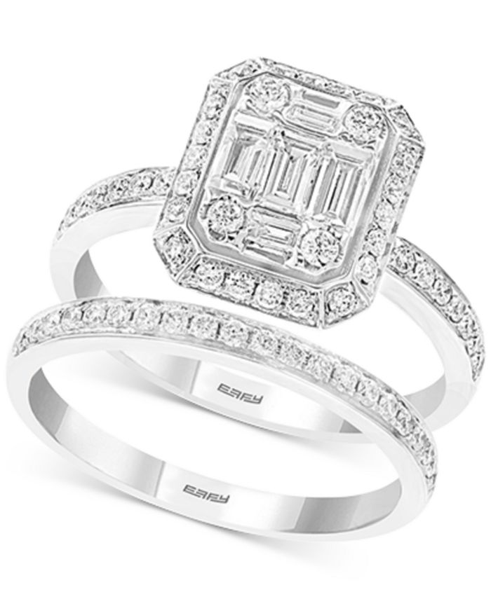 EFFY Collection - Diamond Baguette Cluster Bridal Set (7/8 ct. t.w.) in 14k White Gold
