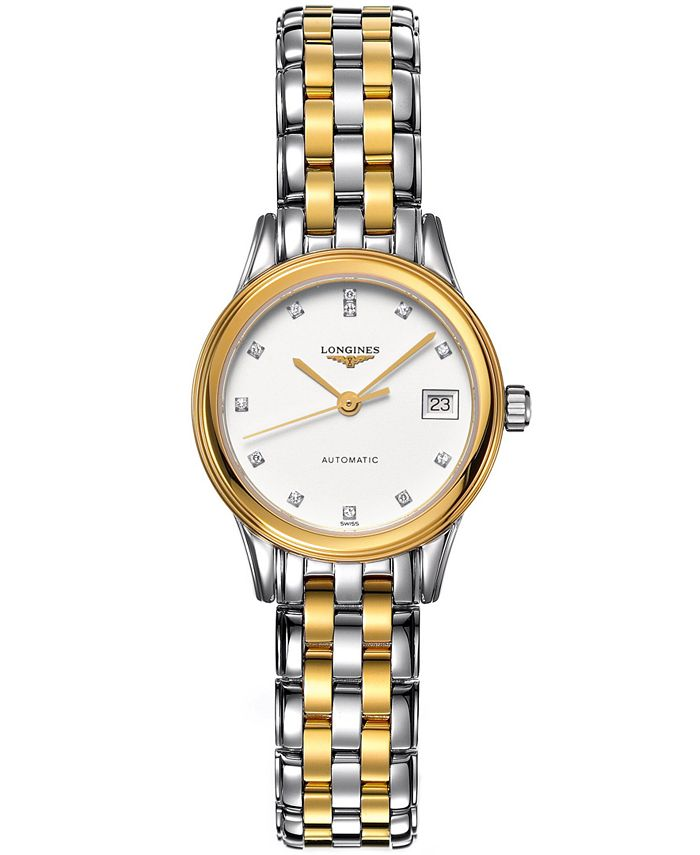 Longines - Watch, Women's Swiss Automatic Flagship Diamond Accent Two Tone Stainless Steel Bracelet 26mm L42743277