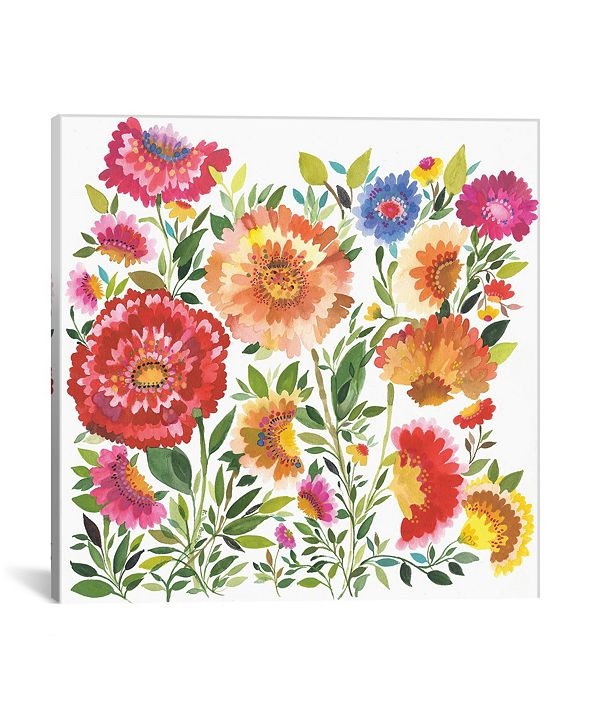 """iCanvas """"Zinnia Garden Textile"""" By Kim Parker Gallery-Wrapped Canvas Print - 18"""" x 18"""" x 0.75"""""""