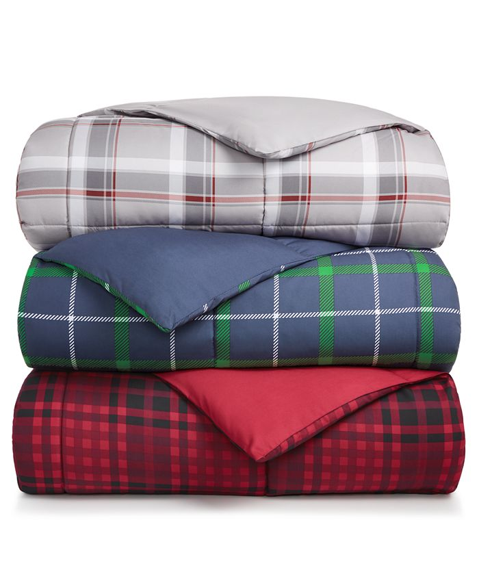 Martha Stewart Collection - Reversible Plaid King Comforter