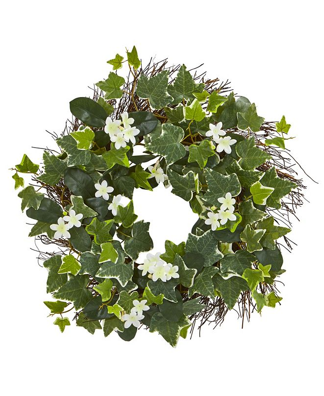 """Nearly Natural 20"""" Variegated Sage Ivy and Stephanotis Artificial Wreath"""