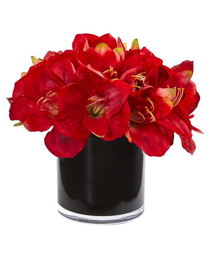 Nearly Natural - Amaryllis Artificial Arrangement in Glossy Cylinder
