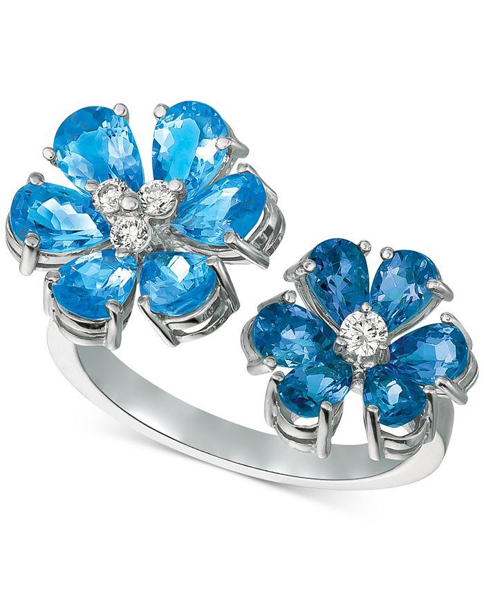 Macy's - Blue Topaz (4-1/2 ct. t.w.) & Diamond (1/8 ct. t.w.) Cuff Ring in 14k White Gold