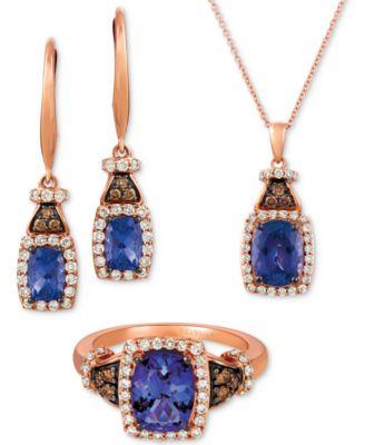 Blueberry Tanzanite (2 ct. t.w.), Nude Diamond (1/4 ct. t.w.) and Chocolate Diamond Accent 18
