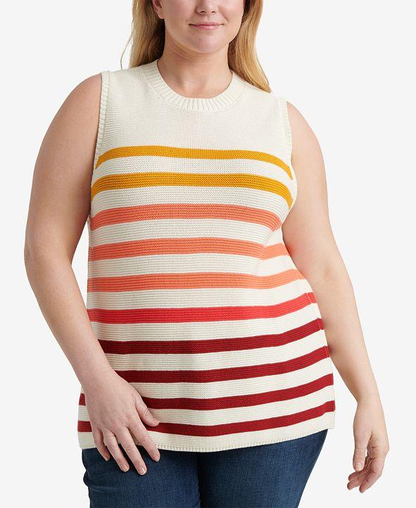 Lucky Brand Plus Size Cotton Ombré Stripes Sweater