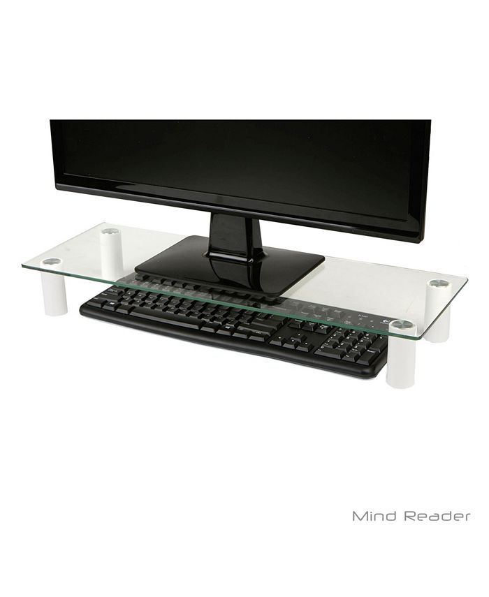 Mind Reader Glass Monitor Stand Riser, Glass Monitor Stand