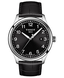 Tissot Men's Swiss Gent XL Black Leather Strap Watch 42mm