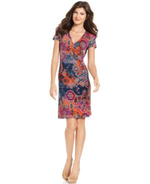 Jones New York Paisley Print Wrap Dress