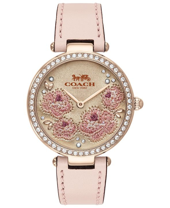 COACH Women's Park Ice Pink Leather Strap Watch 34mm