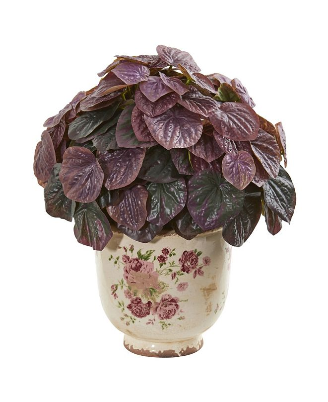 """Nearly Natural 14"""" Peperomia Artificial Plant in Flower Print Planter (Real Touch)"""