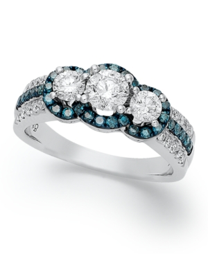 14k White Gold Ring, Treated Blue Diamond (3/8 ct. t.w.) and White Diamond (1-1/8 ct. t.w.) 3-Stone Ring