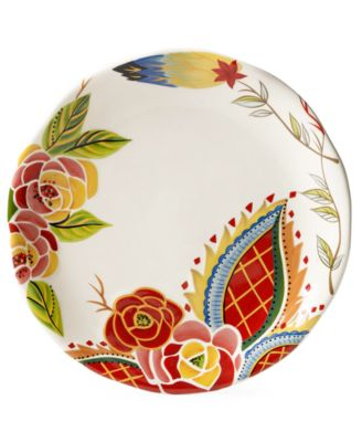 CLOSEOUT! Vida by Espana Rose Print Scalloped Dinner Plate