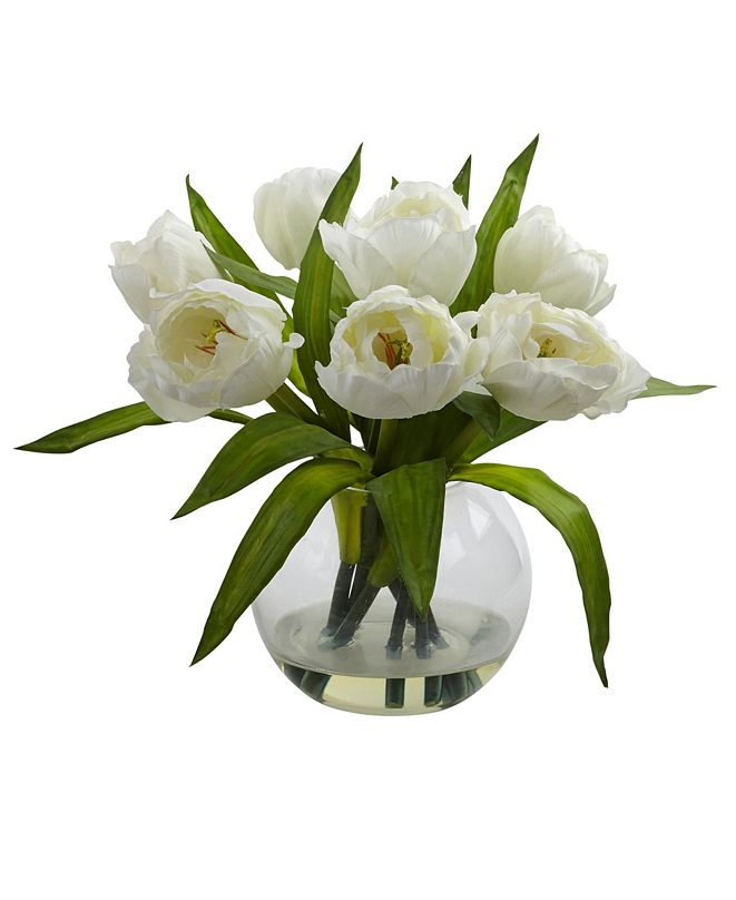 Nearly Natural Tulips Arrangement w/Vase