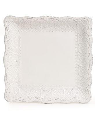 Maison Versailles Blanc Elisabeth Square Dinner Plate