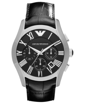 Emporio Armani Watch, Men's Chronograph Black Croco Leather Strap 42mm AR1633