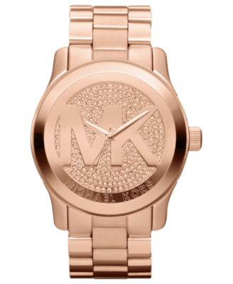 Michael Kors Watch Womens Runway Rose Gold-Tone Stainless Steel Bracelet 45mm MK5661