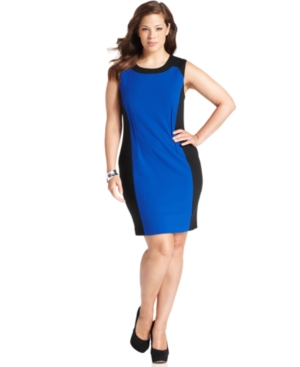 Calvin Klein Plus Size Dress, Sleeveless Colorblocked Sheath