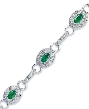 Sterling Silver Bracelet, Emerald (2 ct. t.w.) and Diamond (1/4 ct. t.w.) Oval Link Bracelet