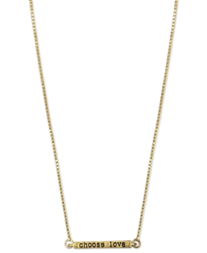 RACHEL Rachel Roy Necklace, Worn Gold Tone Choose Love Bar Pendant Necklace