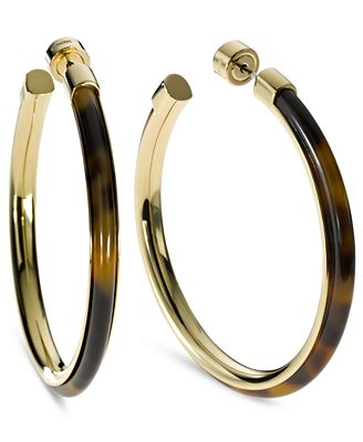 michael kors gold hoop earrings michael kors gold tone tortoise large hoop earrings 3124