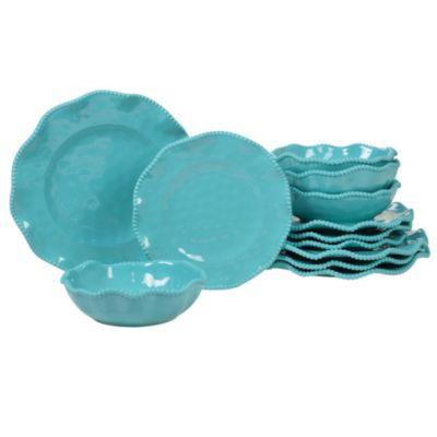 Perlette Teal Melamine 12-Pc. Dinnerware Set