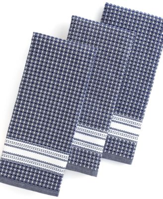 Martha Stewart Collection Kitchen Towels, Set of 3 Waffle Weave Navy