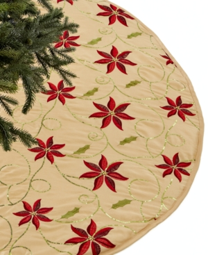Holiday Lane Christmas Tree Skirt, Poinsettia