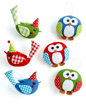 Holiday Lane Christmas Ornaments, Set of 3 Small Knit Birds or Owls