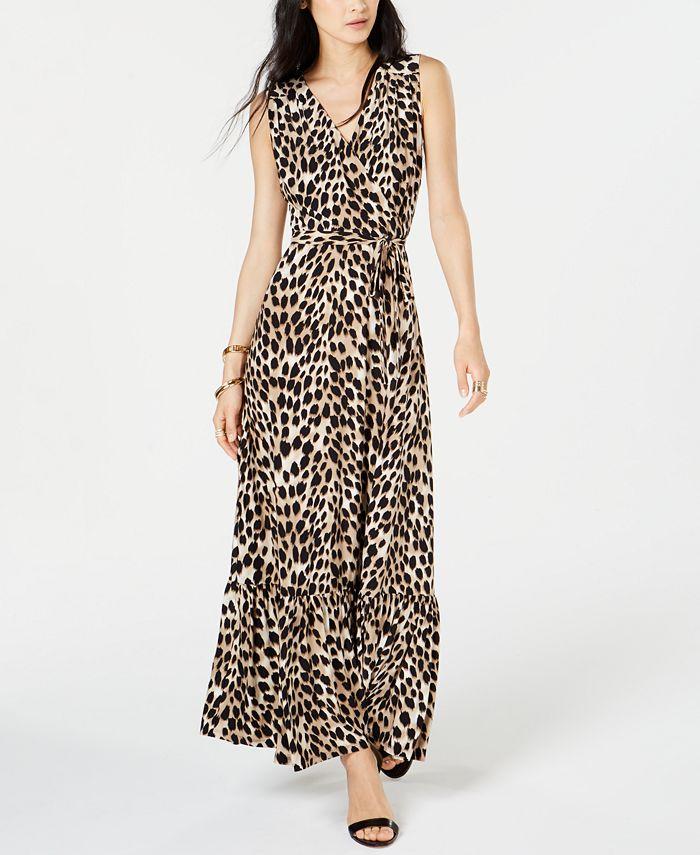 INC International Concepts - Leopard-Print Faux-Wrap Maxi Dress