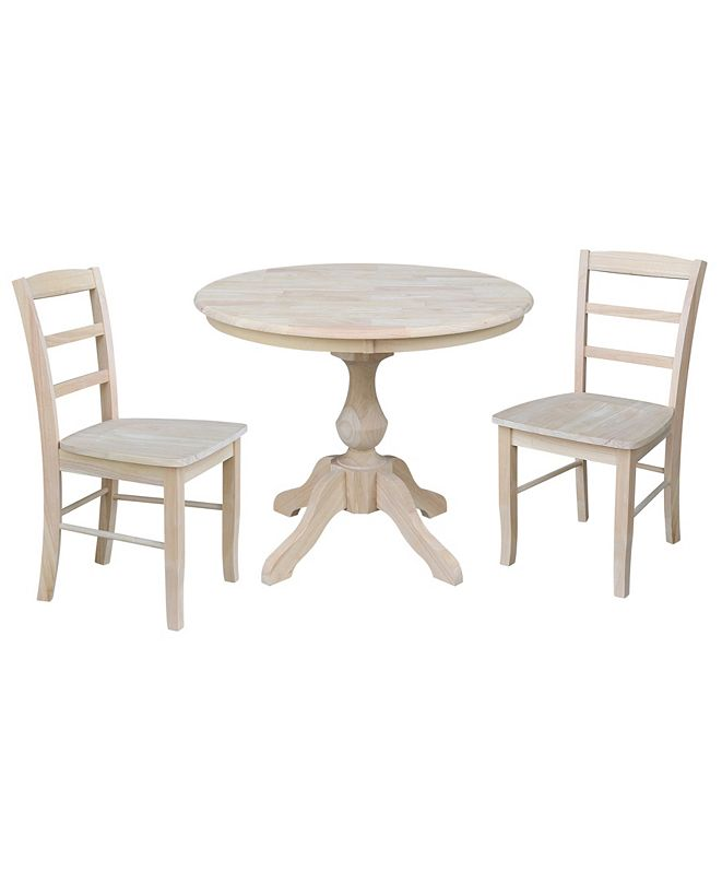 """International Concepts 36"""" Round Top Pedestal Table - With 2 Madrid Chairs"""