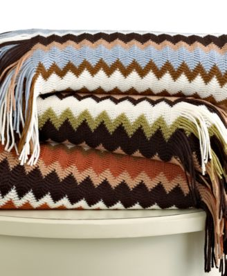Westerly Bedding, Multi Zigzag Knit Throw