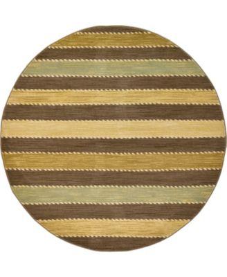 Ojas Oja1 Brown 6' x 6' Round Area Rug