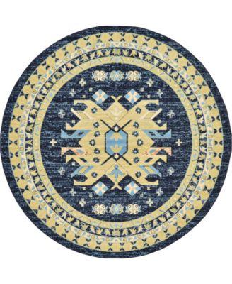 Charvi Chr1 Navy Blue 8' x 8' Round Area Rug