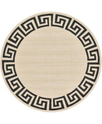 Anzu Anz2 Beige/Black 6' x 6' Round Area Rug