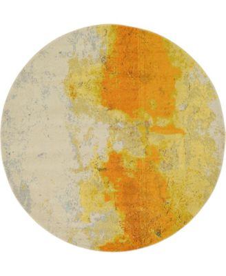 Newwolf New4 Yellow 6' x 6' Round Area Rug