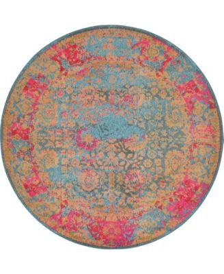 Sana San8 Blue 6' x 6' Round Area Rug