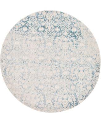 Norston Nor5 Light Blue 6' x 6' Round Area Rug