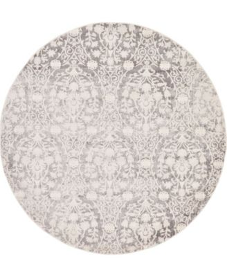 Norston Nor5 Gray 6' x 6' Round Area Rug