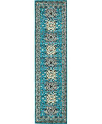 "Charvi Chr1 Turquoise 2' 7"" x 10' Runner Area Rug"