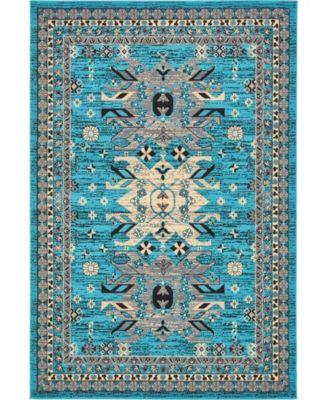 Charvi Chr1 Turquoise 6' x 9' Area Rug